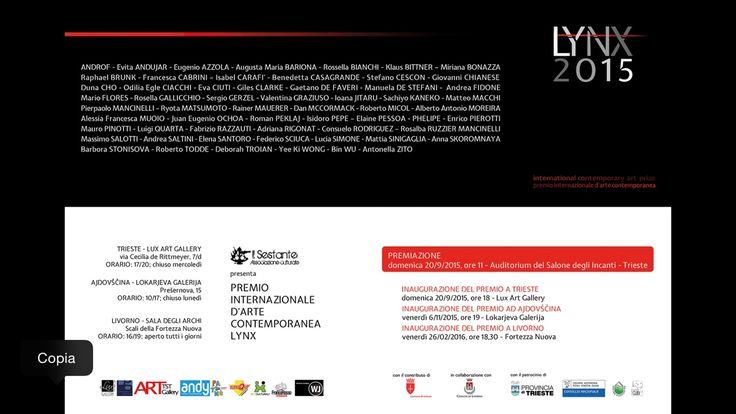 andrea saltini           - Premio Lynx 2015  20 settembre LUX Art Gallery...
