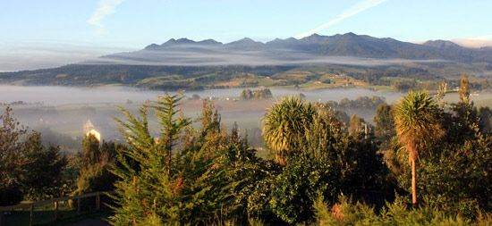 Wreathed in streaks of mist ... beautiful Mt Pirongia, landmark of home