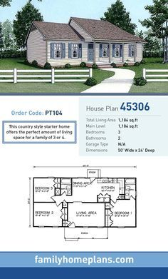 Starter Home Plan 45306 | Total Living Area: 1,184 SQ FT, 3 bedrooms and 2 bathrooms. This country style starter home offers the perfect amount of living space for a family of 3 or 4. #starterhome