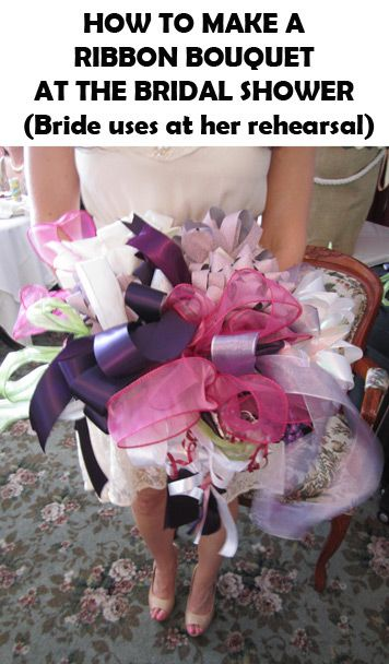 how to make a ribbon bouquet from bridal shower gift ribbons. Bride uses it for…