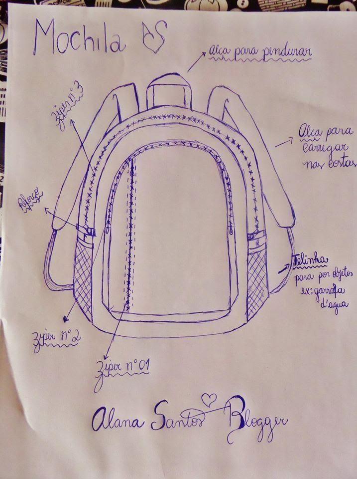 desenho de moldes de mochilas escolares