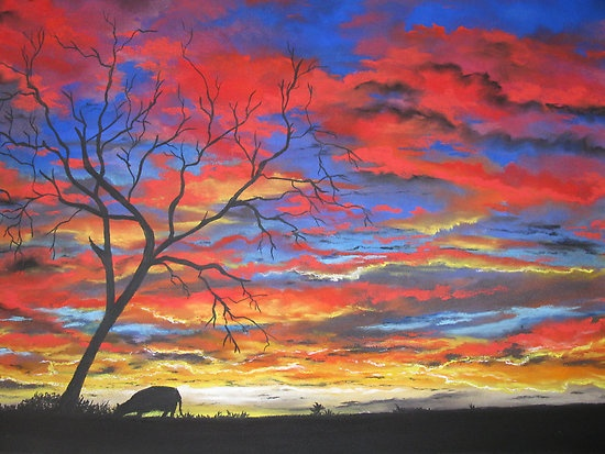 """Tomorrow's Promise"" pastel drawing by Sally Ford.   I love how the sky is portrayed in this picture!"