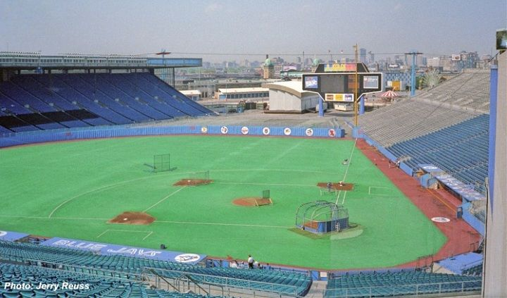 Toronto Blue Jays -Tenants: Toronto Blue Jays (MLB), Toronto Argonauts (CFL) -Capacity: 44,649 -Surface: Astroturf -Cost: $2 Million, $17.8 Million (renovations/additions) -Opened: April 7, 1977 (MLB) -Closed: May 28, 1989 (MLB) -Demolished: 1999