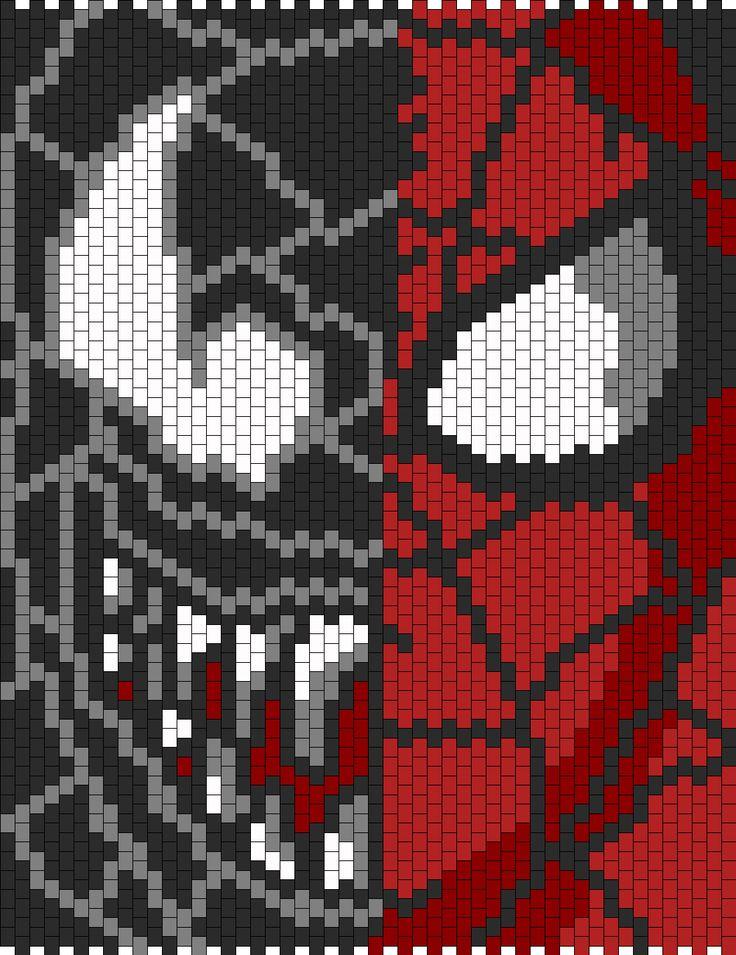 Venom N Spiderman Face Bead Pattern | Peyote Bead Patterns | Characters Bead Patterns