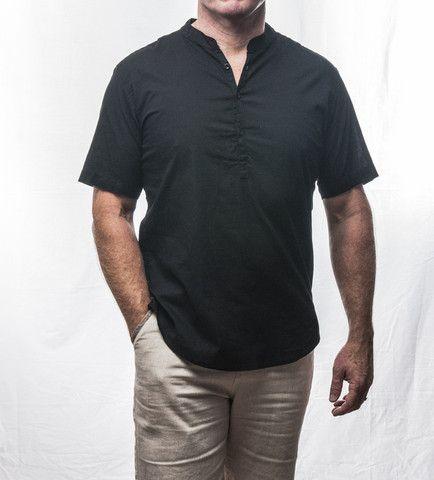 Black Short Sleeve Cotton Shirt