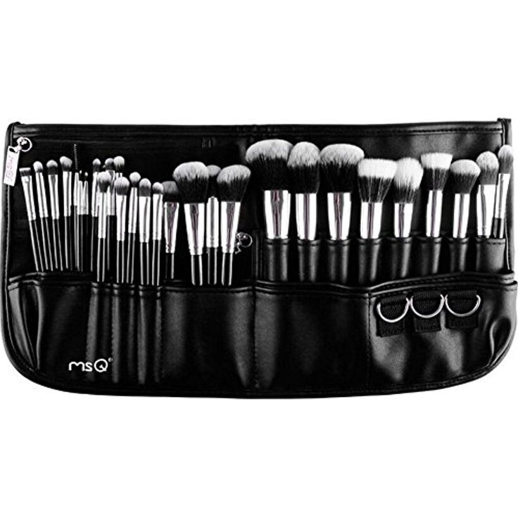 MSQ Makeup Brushes Set 29pcs Professional Makeup Brushes with Makeup bag, Soft Synthetic Hair, Foundation brush, Powder brush, Eye Brush, Lip Brush, Concealer Brush - Silver
