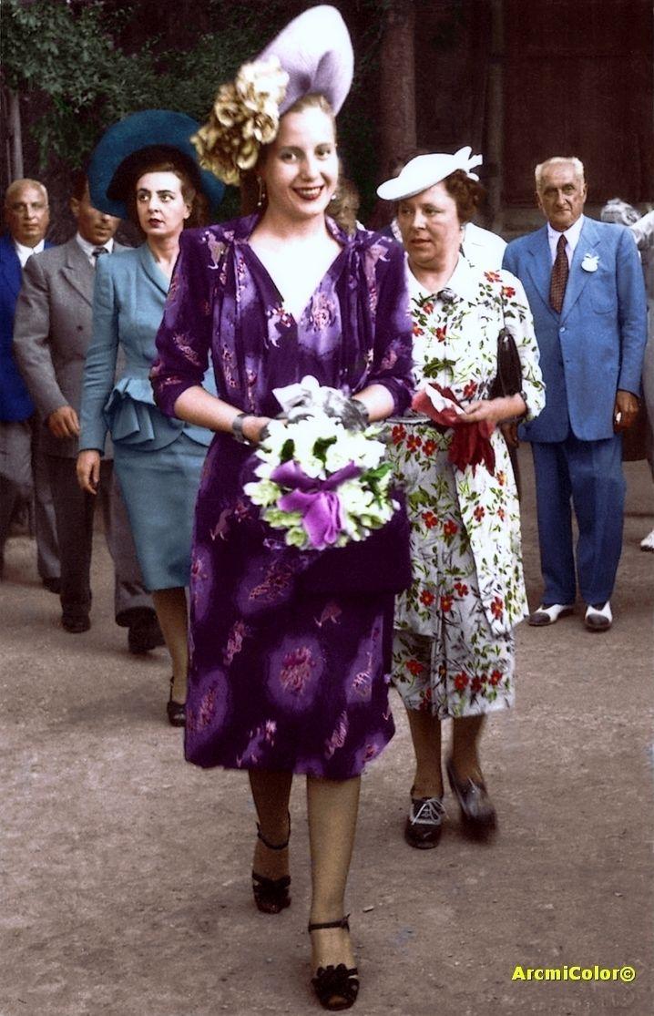 Evita en Genova - Italia 1947 durante la Gira del Arco Iris
