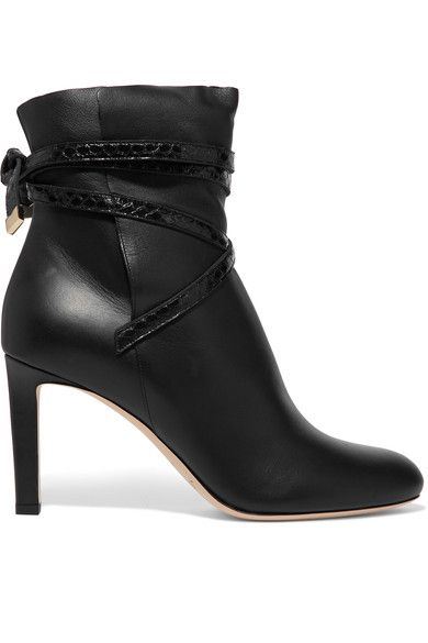 Jimmy Choo - Dalal Elaphe-trimmed Leather Ankle Boots - Black - IT