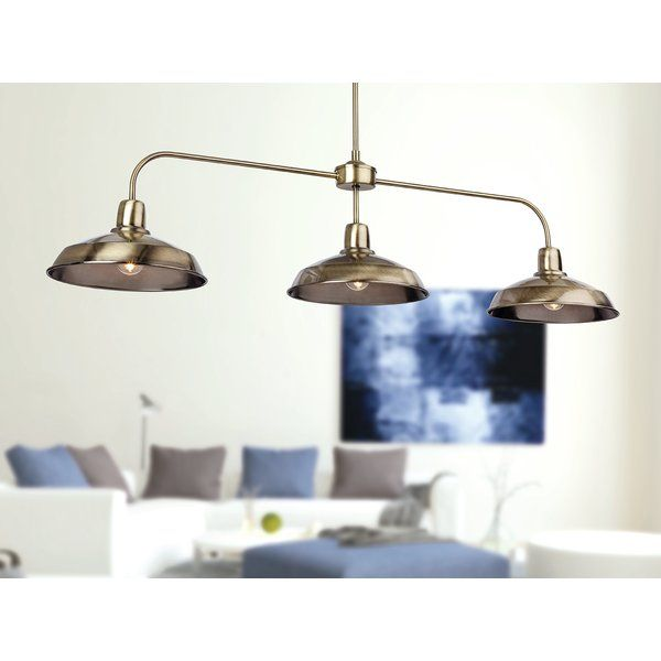 Adjustable height, 3 light pendant ideal for use above dining and games tables.