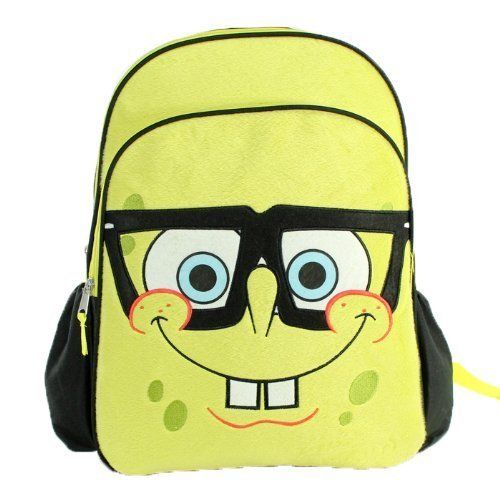 SpongeBob SquarePants Plush Backpack YELLOW by SpongeBob Squarepants. $18.48. SpongeBob SquarePants Backpack is both fun & functional, featuring a plush SpongeBob face design, offering one large compartment, a medium accessories pouch & two side pockets. Padded straps & back provide extra comfort & support. Measures 16'' x 15'' x 5.5''. 100% Polyester.