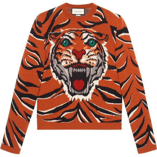 Gucci Tiger intarsia wool sweater (€1.135) via Polyvore featuring men's fashion, men's clothing, men's sweaters, men's wool crew neck sweaters, mens crew neck sweaters, mens wool sweaters, gucci mens sweater und mens orange sweater