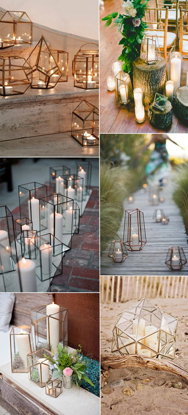 stunning geometric terrarium wedding lighting decor ideas