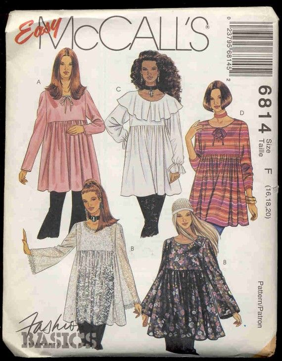 plus sized tunic patterns | MCalls 6814 Plus Size Tunic Length Smock top Pattern by bellaloona