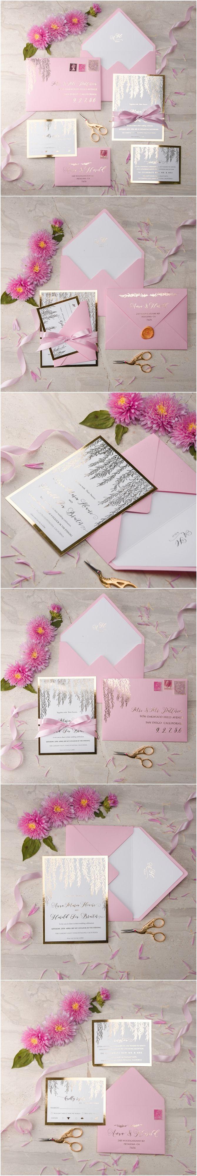 Pink & Gold Wedding Invitations - gold foil printing, ribbon and wax stamp #weddinginvitations #unique #romantic #elegant #weddingideas #gold #pink #blush #glam