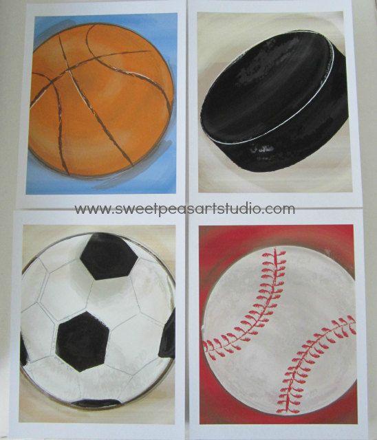 Sports Art Prints Basketball Hockey Puck Soccer Baseball for wall art bedding decor