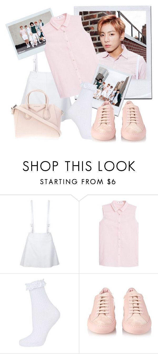 """""""BTS inspired by Jungkook outfit"""" by schnpri ❤ liked on Polyvore featuring moda, Courrèges, MANGO, Topshop, Common Projects, Givenchy, kpop, bts y jungkook"""