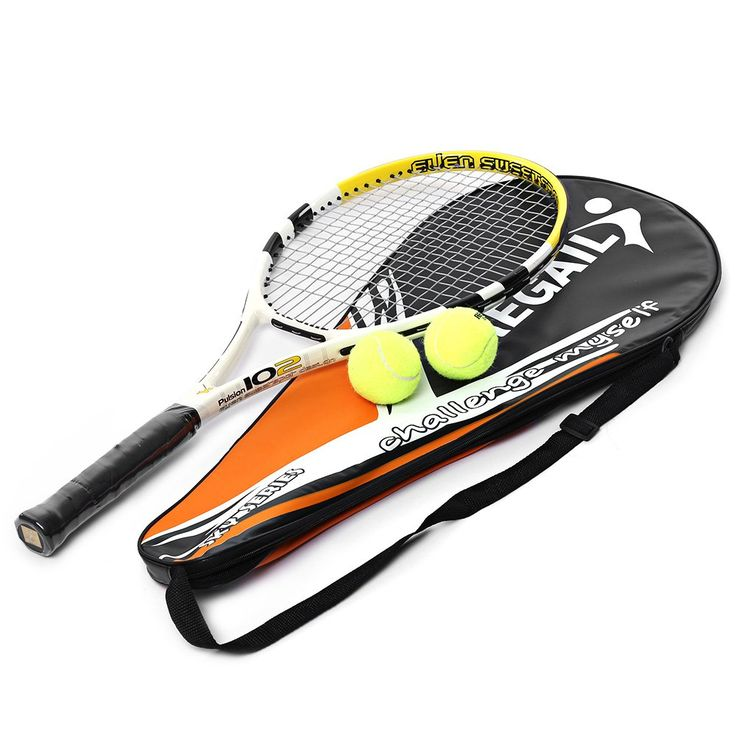 Yellow Durable Tennis Racket Pro Carbon Aluminum Alloy Tennis Racket Frame Top Material Strings Alloy Racket With Tennis Bag
