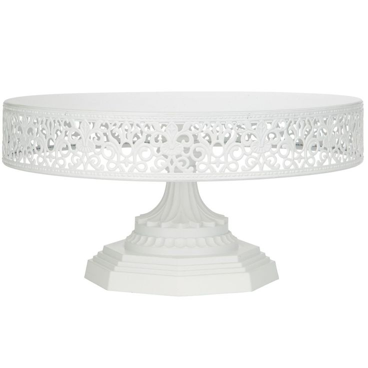 """- 12"""" diameter flat tray top with a sturdy metal base - The cake stand is 6"""" tall, and weighs 3.52 lb - Hand-painted with a semi-matte white finish, 100% food safe - Tray top and the base can be taken"""
