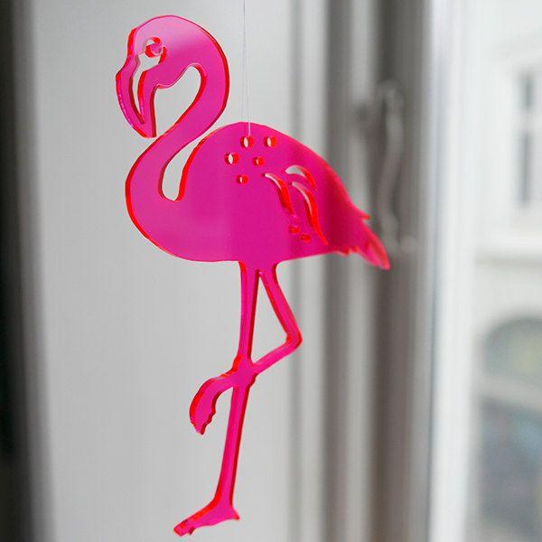 Neon red Flamingo in lasercut plexiglas by Spagat on Etsy