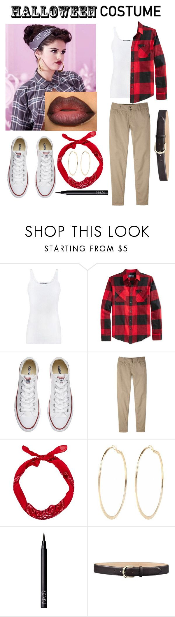 """Last minute chola costume!"" by jbeach1124 ❤ liked on Polyvore featuring Vince, American Rag Cie, Converse, Mountain Khakis, River Island and NARS Cosmetics"