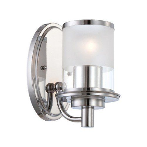 Designers Fountain 6691-CH Essence One Light Wall Sconce, Chrome Finish with Sand/Clear Glass by Designers Fountain. $53.55. This wall sconce is part of the Essence family.  Featuring a crisp chrome finish and a two-tone shade, this transitionally styled wall sconce will add soft ambient light to any bathroom or vanity area. Suitable for both damp and dry locations, this versatile and beautiful fixture will add a touch of style to any room.. Save 40%!