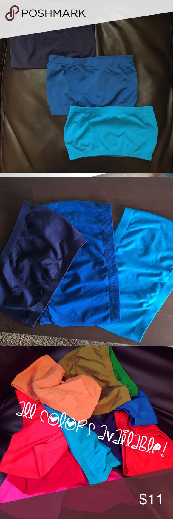 Like New Seamless Bandeau Tops! Turquoise Blue, Royal Blue and Navy bandeau tops! (You get all three!) Also called boob-tubes 😂 perfect for under low cut shirt or with shirts with large arms!  Like new, never worn! Super stretchy: 92% Nylon, 8% Spandex!  No padding, just coverage. ❤ I have other colors, so bundle and save!!❤  sorry no trades! Intimates & Sleepwear Bandeaus
