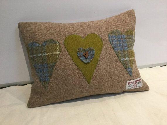 Hand made harris tweed heart appliqué cushion by spbcraftoriginals