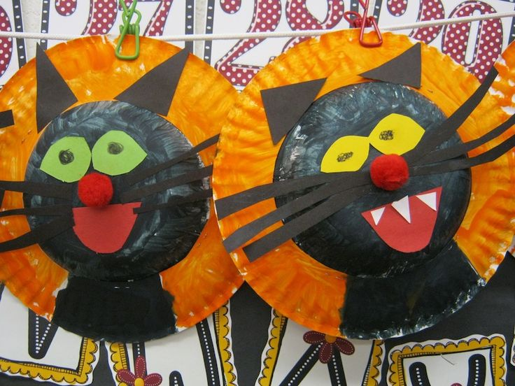 """A sneak peek at our """"cats"""" our 3rd grade buddies helped us make last fall.  We're gearing up to make them again this week!!"""