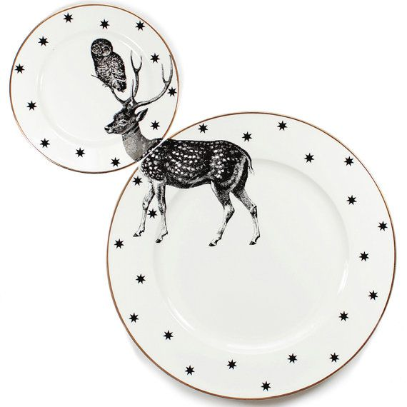 Cute and quirky Stag plate set with unique illustration applied across the gorgeous matching dinner and side plates. Part of the exclusive Yvonne