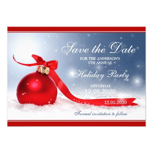 Personalized Christmas Party Save The Date Cards