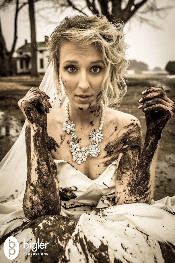Roll around in the mud | Community Post: 28 Ways To Trash Your Wedding Dress