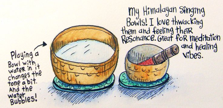 A doodle of my beloved Himalayan singing bowls. I play these to relax and breathe and to envoke the healing vibes.