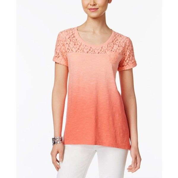 Style & Co Petite Lace Dip-Dyed Top, ($40) ❤ liked on Polyvore featuring tops, coral bliss, dip dye top, lace top, lace pullover top, handkerchief hem tops and lacy tops