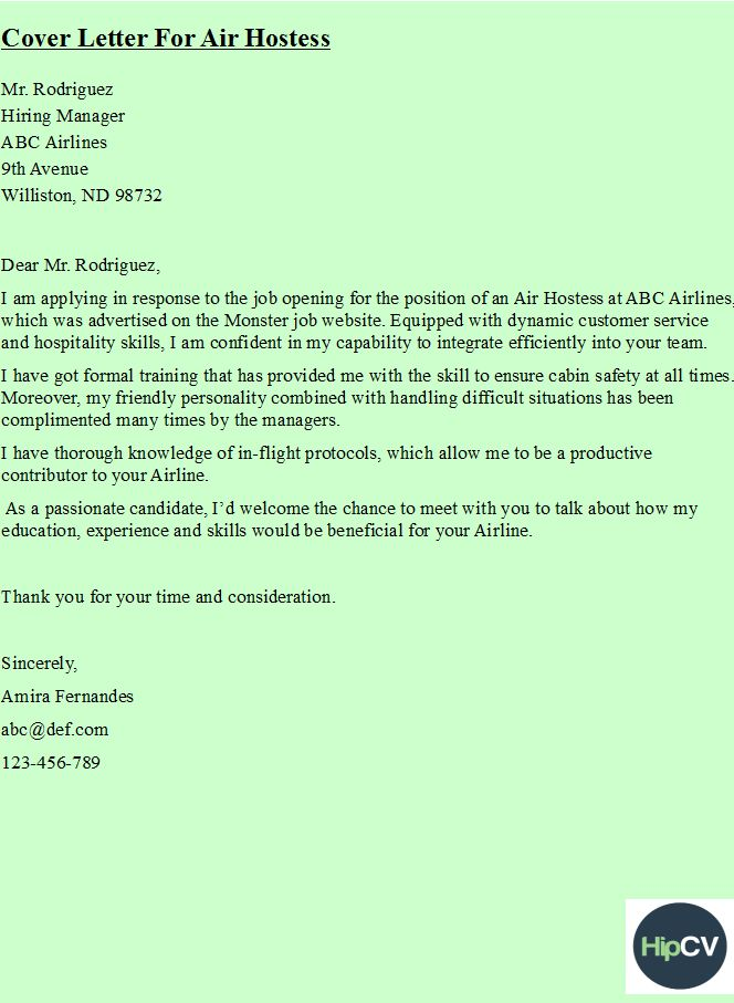 Cover Letter For Air Hostess HttpsHipcvCom  Hipcv Resume
