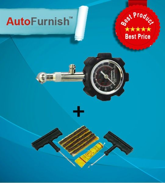 Coido Combo - Pressure Gauge and Tyre Puncture repair kit