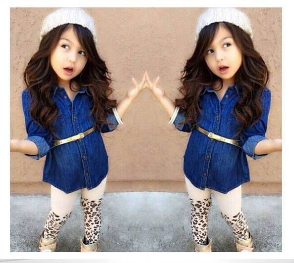 Girl's clothing set children's clothing baby girl denim suit sets long sleeve denim shirt+belt+ leopard legging pants
