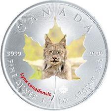 1oz De Plata De Color Hoja De Maple 2015 Canadá Fauna Lince Canadiense