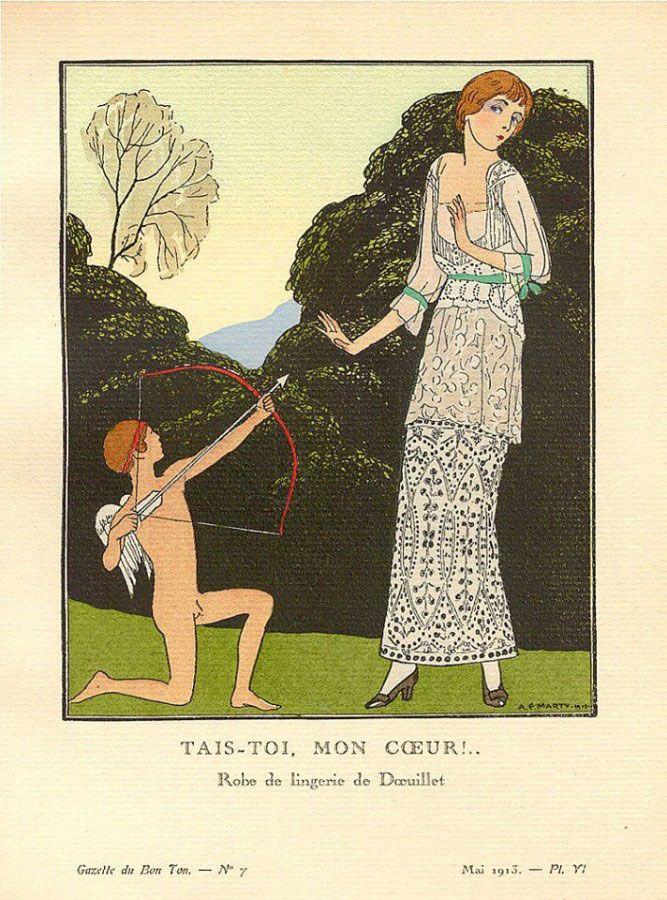 1913 Gazette du Bon Ton. Robe du lingerie, de Doeuillet.