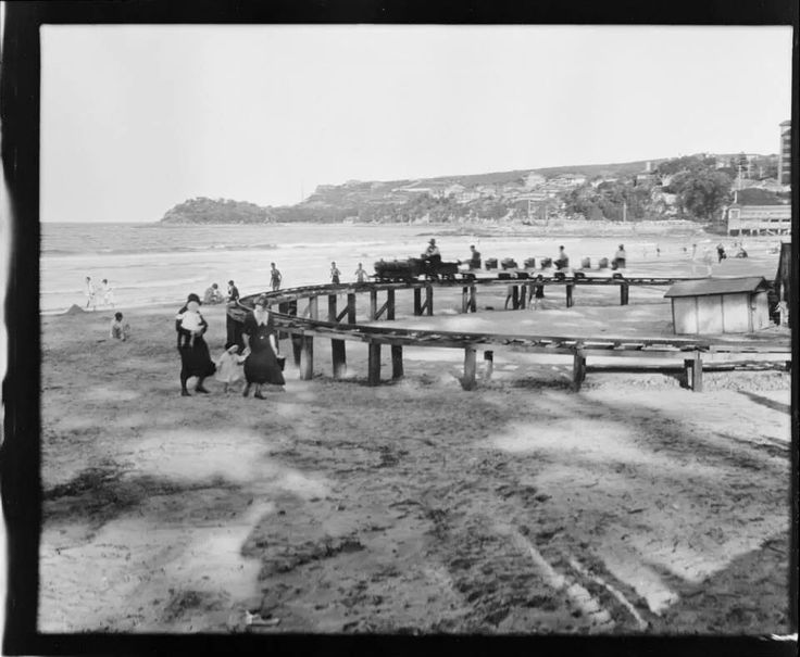 Elevated railway fun at Manly Beach im the 1920s.