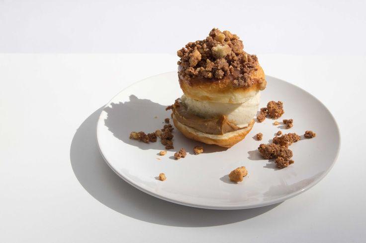 BETTER THAN VANILLA! Vanilla gelato, caramel glaze, chocolate covered short crust #sydfest #doughnut #fried