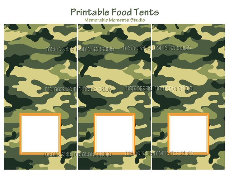 PRINTABLE FOOD TENT cards Camo Army