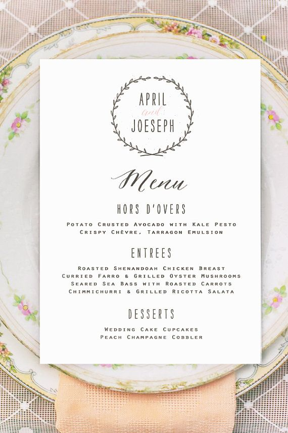 Wreath Wedding Menu Cards  PRINTED  Vintage Rustic by BrossieBelle