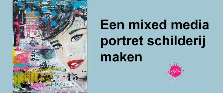 workshop mixed media portret schilderij in 1 dag schilderij maken