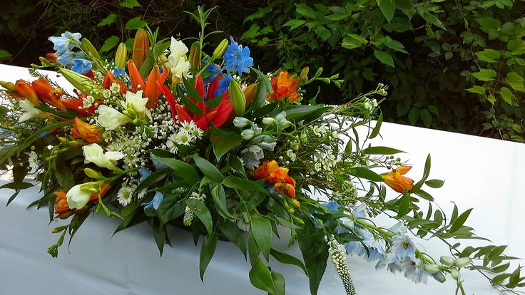 simple wildflower centerpiece in blues, oranges and white for W+V's ceremony, August 8, 2014, West Lawn, Artscape Gibraltar Point; design by Davis Floral Creations