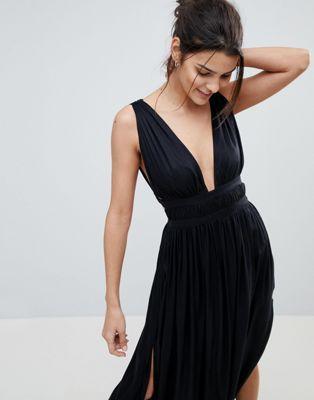c6ab966fbb7 DESIGN grecian plunge maxi woven beach dress in 2019