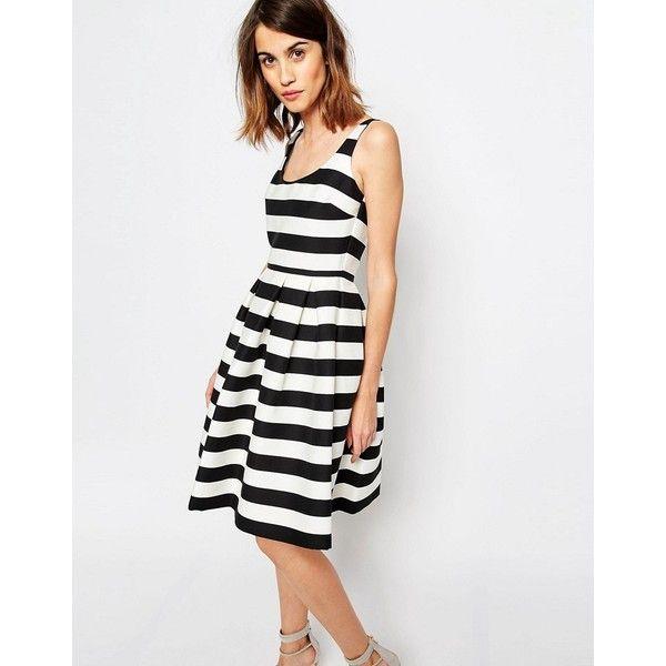 Warehouse Premium Stripe Prom Dress ($48) ❤ liked on Polyvore featuring dresses, multi, scoop neck dress, striped dress, prom dresses, cotton dresses and scoop-neck dresses