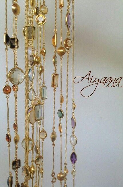 #gemnecklaces #multicoloured #throwthemon #casual&chic #semipreciousgems #aiyaana_jewellery