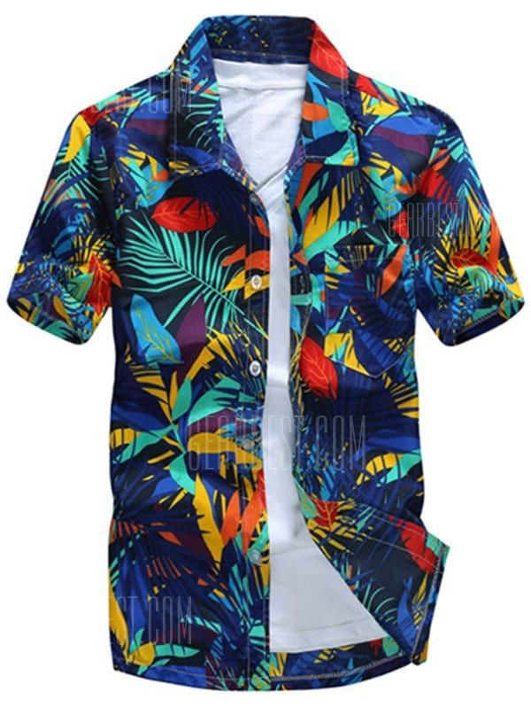 Shirts Type  Casual Shirts Material  Polyester Collar  Turn-down Collar  Sleeve Length  Short Package Contents  1 x Shirt Weight  0.2160kg 4be1ffb53c8
