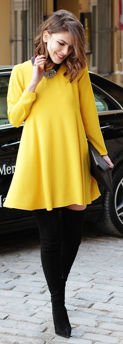 Yellow dress, #statement necklace and over the knee boots.