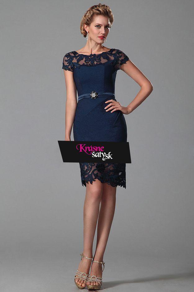 Elegantné šaty pod kolená modrej farby S01367